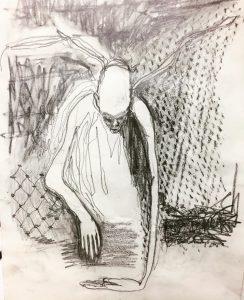 Graphite on paper A4, demon, sketch